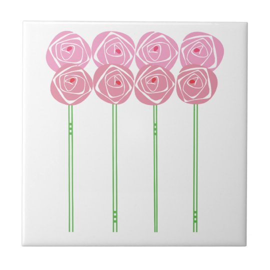 Simple Art Nouveau Roses in the Mackintosh Style