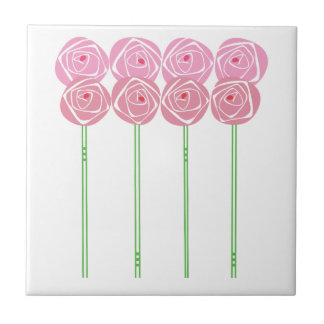 Simple Art Nouveau Roses in the Mackintosh Style Tile