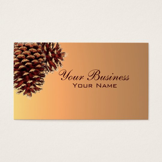 Simple autumn coloured pine cone business cards