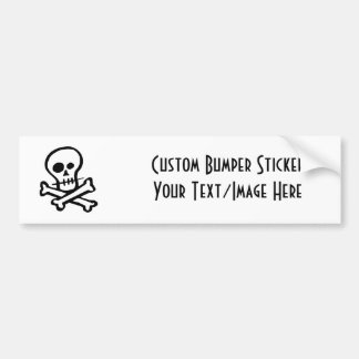 Simple B&W Skull & Crossbones Bumper Sticker
