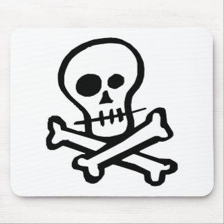 Simple B W Skull Crossbones Mousepads