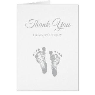 Simple Baby Shower Thank You Modern Grey Footprint Card