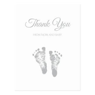 Simple Baby Shower Thank You Modern Grey Footprint Postcard