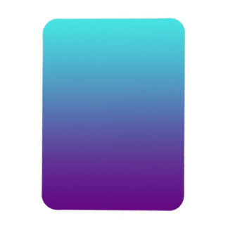 Simple Background Gradient Turquoise Blue Purple Rectangular Photo Magnet