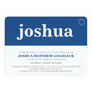SIMPLE BAR MITZVAH cool modern star of david navy Card