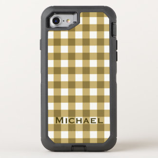 Simple Basic Brown Gingham Pattern with Name OtterBox Defender iPhone 8/7 Case