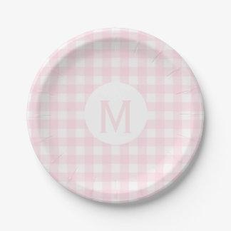 Simple Basic Pale Pink Gingham Monogram Paper Plate
