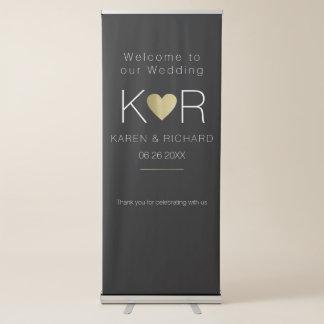 simple & basic romantic wedding black retractable banner