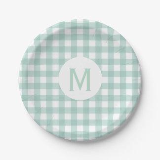 Simple Basic Sage Green Gingham Monogram Paper Plate