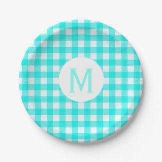 Simple Basic Turquoise Gingham Monogram Paper Plate
