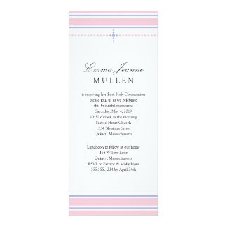 Simple Beaded Cross | First Communion 10 Cm X 24 Cm Invitation Card