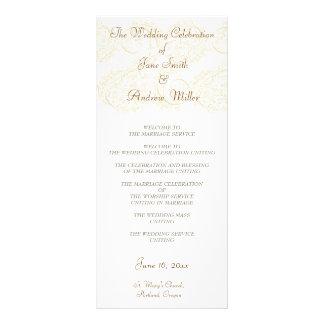 Simple Beige Damask Wedding Programs Rack Card