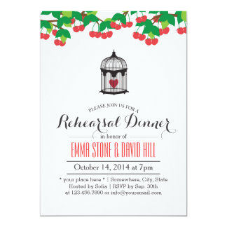 Simple Birdcage & Heart Rehearsal Dinner 5x7 Paper Invitation Card