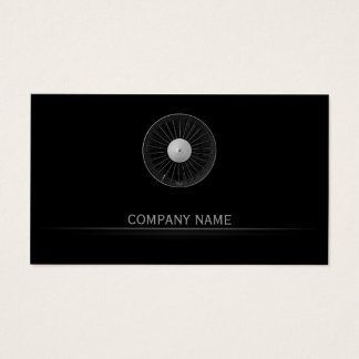 Simple Black Airplane Engine Company Business Card