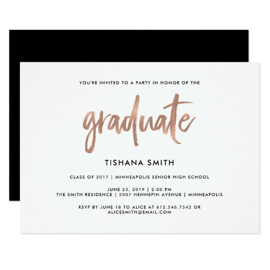 Simple Black and Faux Rose Gold Graduation Party