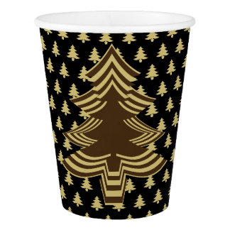 Simple Black and Gold Christmas Tree Font Pattern Paper Cup