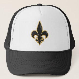 Simple Black and Gold Fleur de Lis Trucker Hat