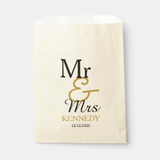 Simple Black And Gold Mr And Mrs Wedding Favour Bags