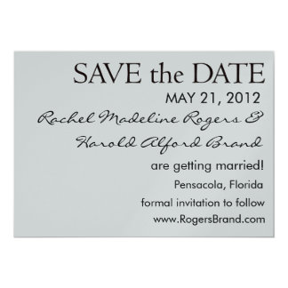 Simple Black and Silver Save the Date 13 Cm X 18 Cm Invitation Card