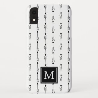 Simple Black and White Boho Arrow Pattern Monogram Case-Mate iPhone Case