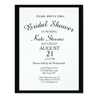 Simple Black and white Bridal Shower Card