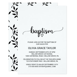 Simple Black and White Calligraphy Baptism Card