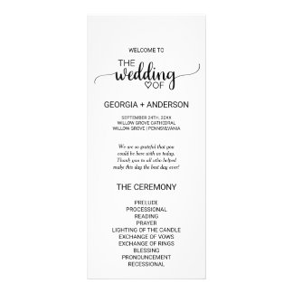 Simple Black and White Calligraphy Wedding Program Rack Card