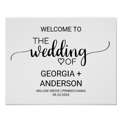Simple Black and White Calligraphy Wedding Welcome Poster