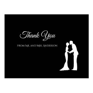 Simple Black and White Elegant Wedding Thank you Postcard
