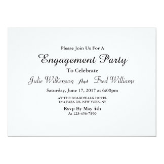 Simple black and white engagement card