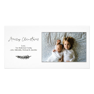 Simple Black and White Merry Christmas Horizontal Card