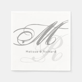 simple black-and-white monogram disposable serviette