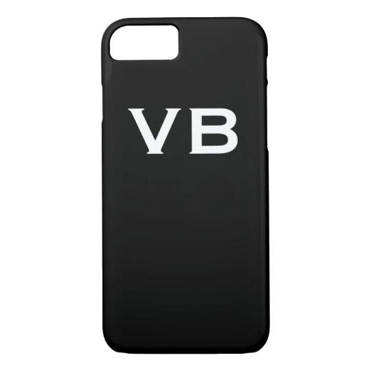 Simple Black and White Monogram Initials iPhone 8/7