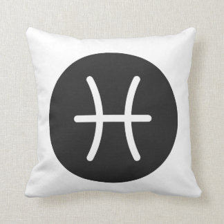 Simple Black and White Pisces Pillow. Cushion