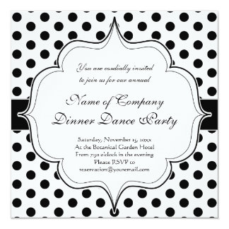 Simple Black and White Polka Dot Basic Pattern 13 Cm X 13 Cm Square Invitation Card