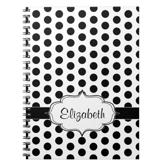 Simple Black and White Polka Dot Basic Pattern Notebooks