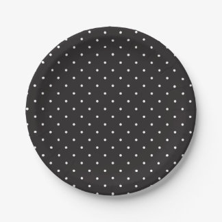 Simple Black and White Polka Dots Paper Plates 7 Inch Paper Plate
