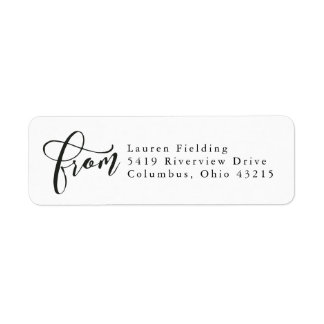 Simple black and white return address label