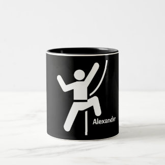 Simple Black and White Rock Climbing Icon Two-Tone Coffee Mug
