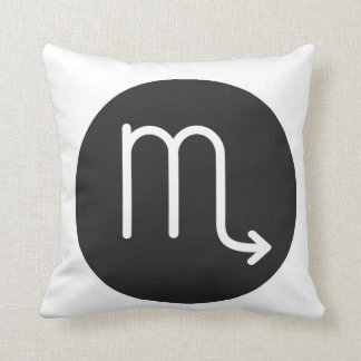 Simple Black and White Scorpio Pillow. Cushion