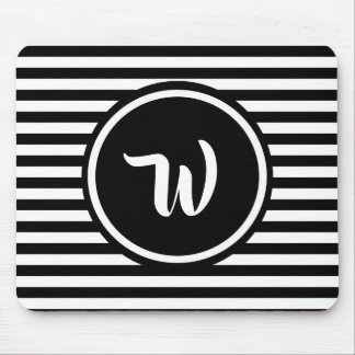 Simple Black and White Stripes Striped Initials Mouse Mat
