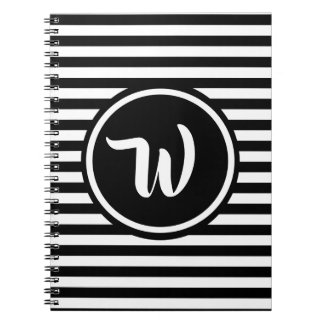 Simple Black and White Stripes Striped Initials Spiral Notebook