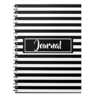 Simple Black and White Stripes Striped Journal