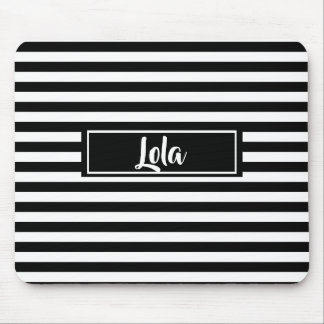 Simple Black and White Stripes Striped Name Mouse Mat