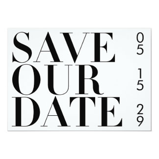 SIMPLE BLACK AND WHITE TYPOGRAPHY SAVE THE DATE CARD