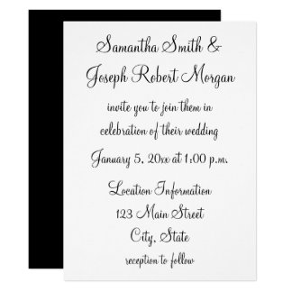 simple_black_and_white_wedding_card ra68620d2703d4473b3d32245b1a3ccb7_6gdsi_324?rlvnet=1 plain white invitations & announcements zazzle co uk,Plain White Invitations
