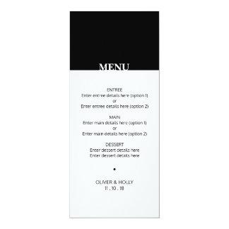 Simple black and white wedding menu card