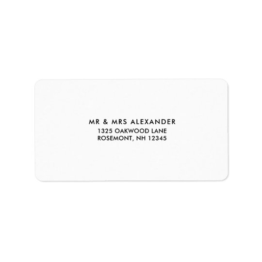 Simple Black and White Wedding Return Label