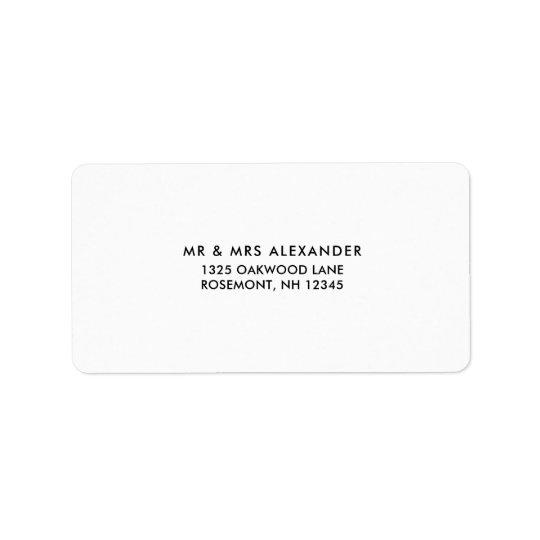 Simple Black and White Wedding Return Label Address Label