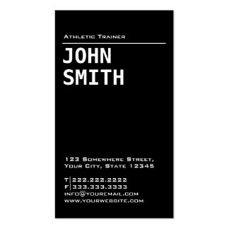 Simple Black Athletic Trainer Business Card